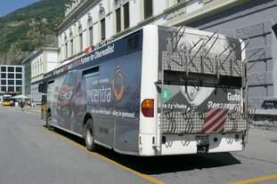 Citaro auf der Linie 1 des Ortsbus Brig-Glis, die letzte Woche noch im Einsatz, am 29.7.16 auf dem Bhf Brig.