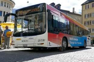 Ab heute 6.8.16 fahren die neuen MAN auf dem Ortsbus Brig-Glis, hier der MAN der zum anschauen den ganzen Tag auf dem Stadtplatz stand.