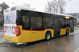 Heckansicht des MB C2 K vom PU Eurobus, Erlach am 10.2.19 beim Bhf Ins.