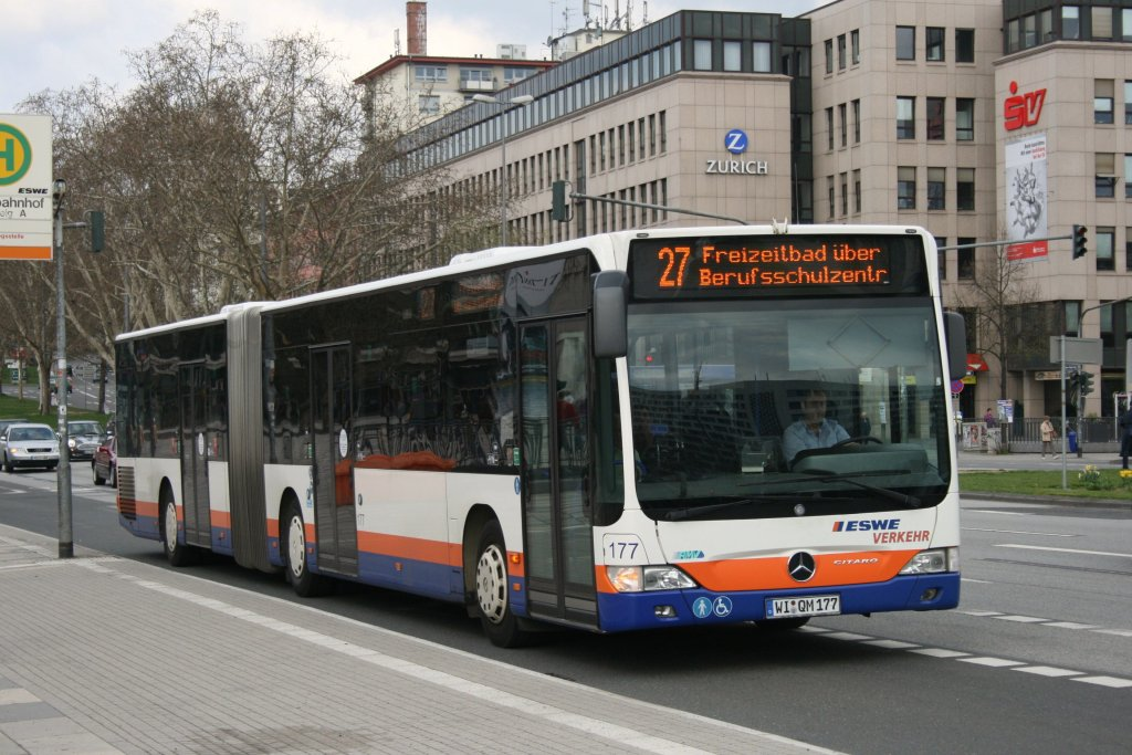 eswe verkehr 177 wi qm 177 mit der linie 27 am hbf wiesbaden 10 bus. Black Bedroom Furniture Sets. Home Design Ideas