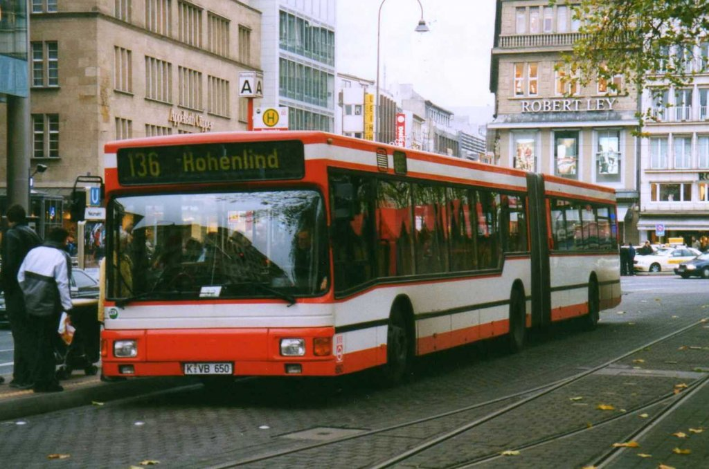 man ng272 der kvb k ln aufgenommen im november 2002 in k ln am neumarkt bus. Black Bedroom Furniture Sets. Home Design Ideas