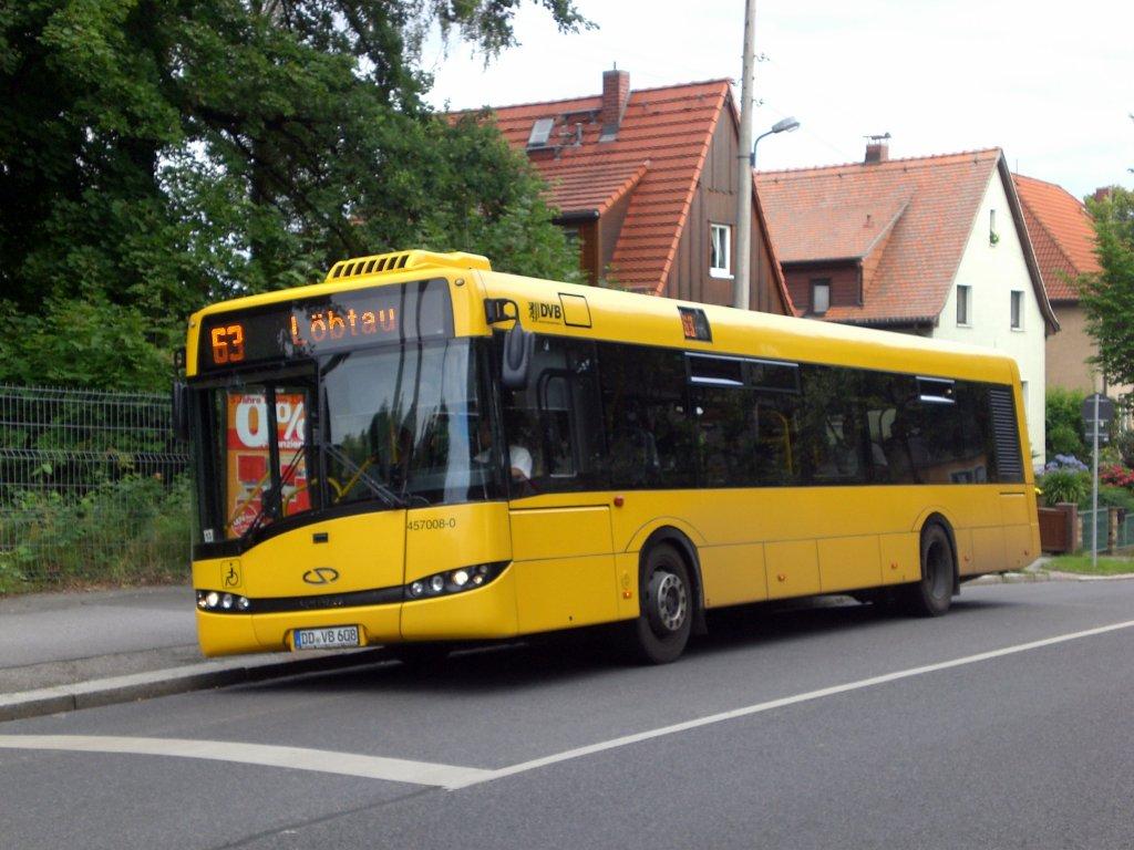solaris urbino auf der linie 63 nach l btau an der haltestelle zschertnitz bus. Black Bedroom Furniture Sets. Home Design Ideas