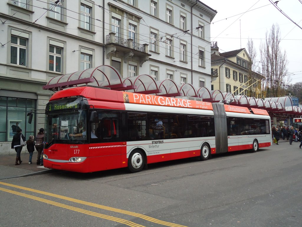 SW Winterthur Nr. 177 Solaris Gelenktrolleybus am 17. November 2010 Winterthur, Hauptbahnhof