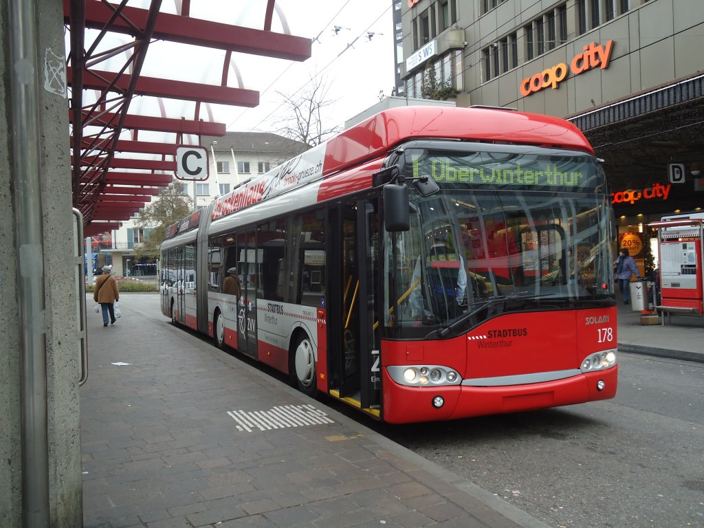 SW Winterthur - Nr. 178 - Solaris Gelenktrolleybus am 24. November 2011 in Winterthur, Hauptbahnhof