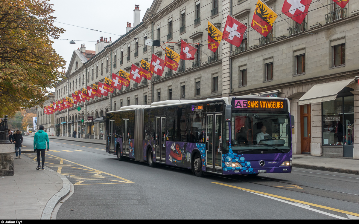Citaro TPG 1134 am 4. November 2018 in der Rue de la Corraterie.