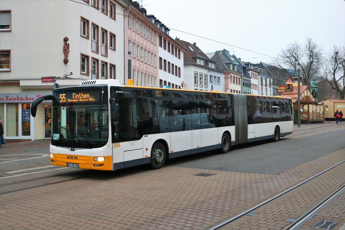 DB Regio Bus Mitte MAN Lions City G Wagen 308 am 28.12.18 in Mainz Schillerplatz