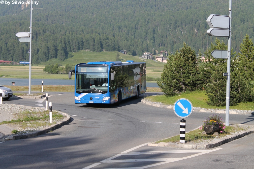 EngadinBus GR 100 116 (Mercedes Citaro C2 O530) am 1.7.2015 in Silvaplana, Post