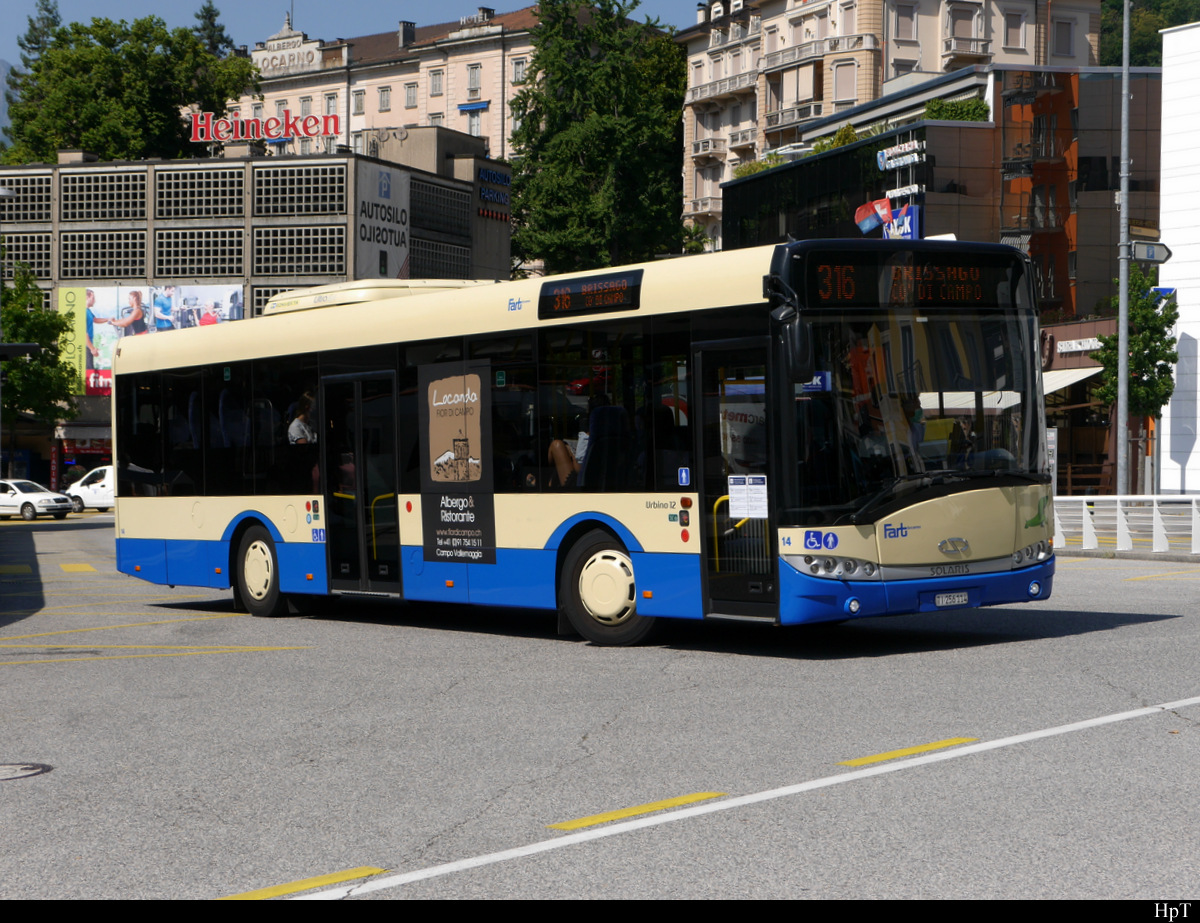 FART - Solaris Urbino Nr.14  TI 256114 unterwegs in Locarno am 31.07.2020
