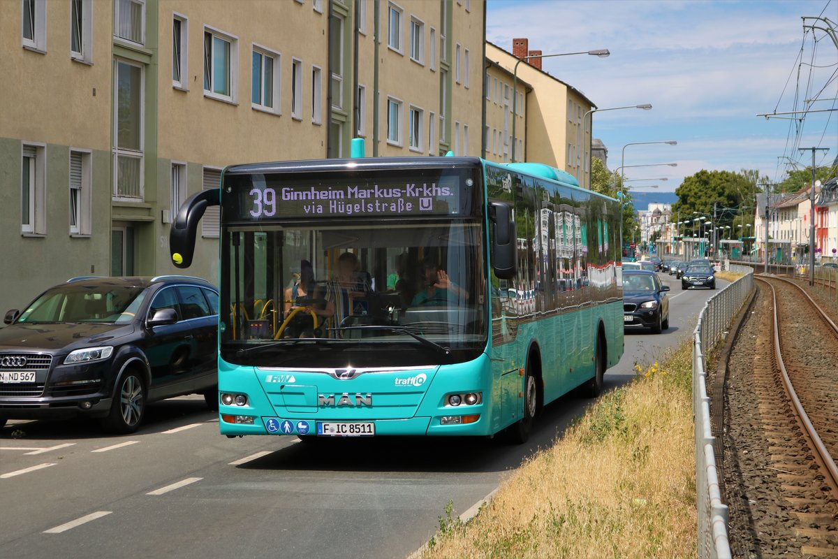 ICB MAN Lions City Wagen 511 als Linie 39 am 06.07.19 in Frankfurt am Main