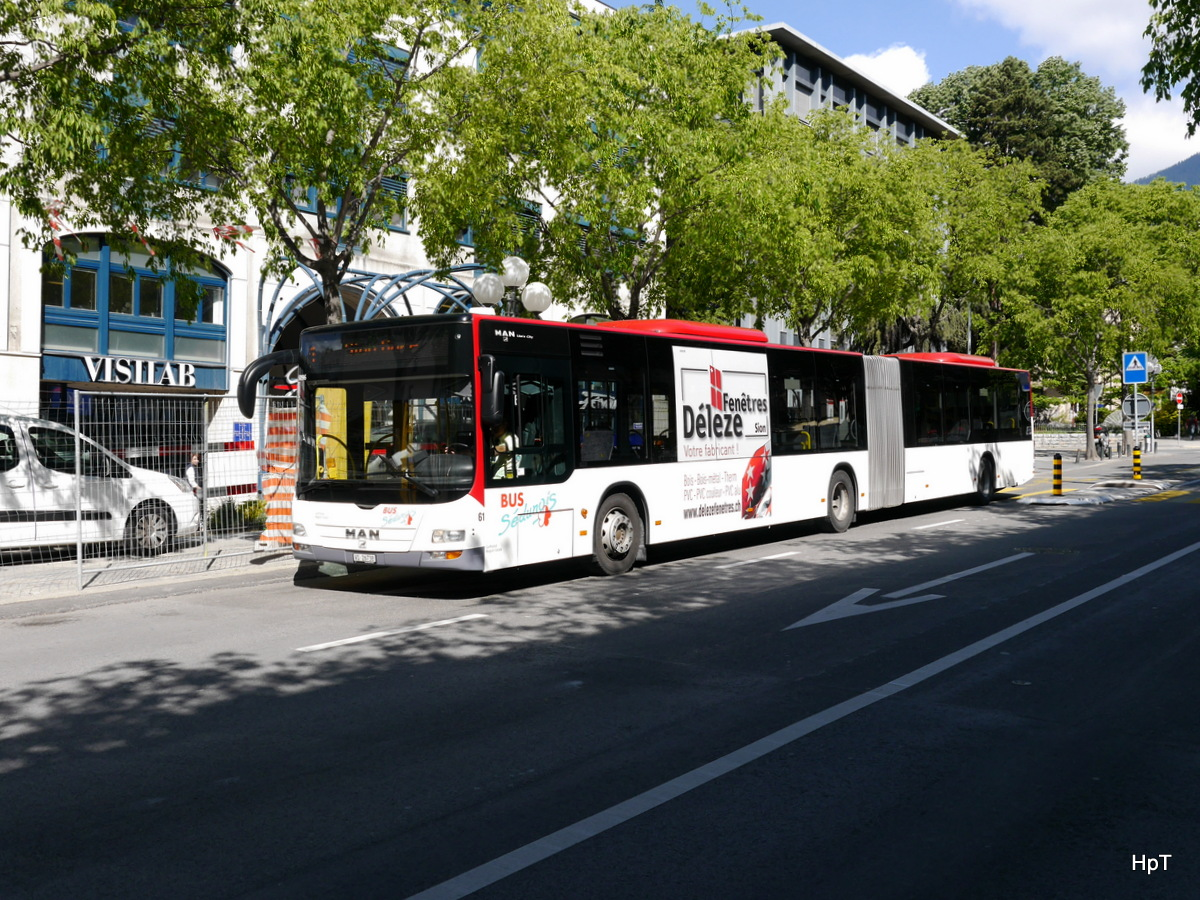 Ortsbus Sion / Postauto - MAN Lion`s City  Nr.61  VS 26738 unterwegs in der Stadt Sion am 09.05.2017