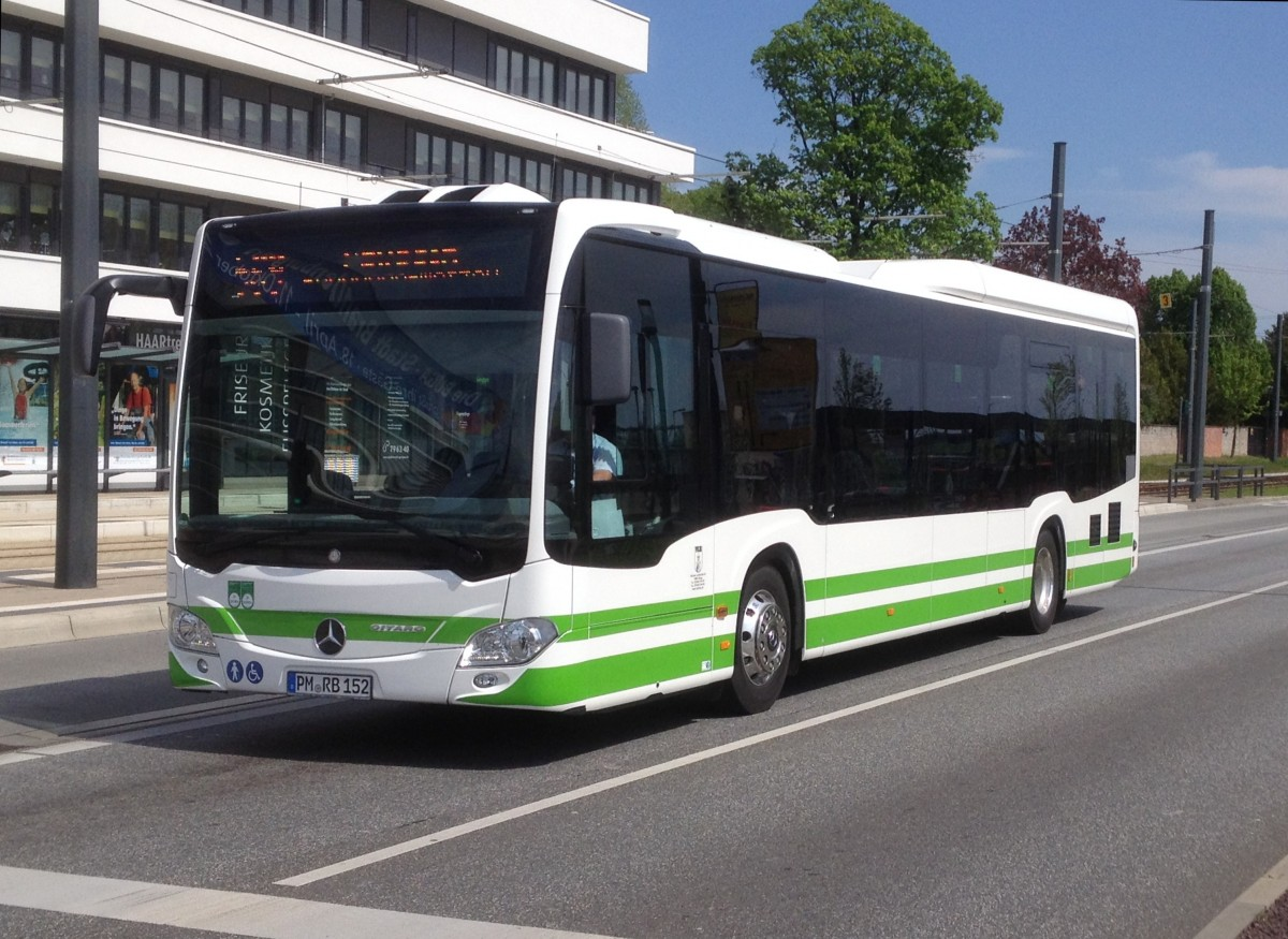 PM RB 152, MB Citaro C2 LE Ü der VGB am Brandenburger HBF, 12.5.15