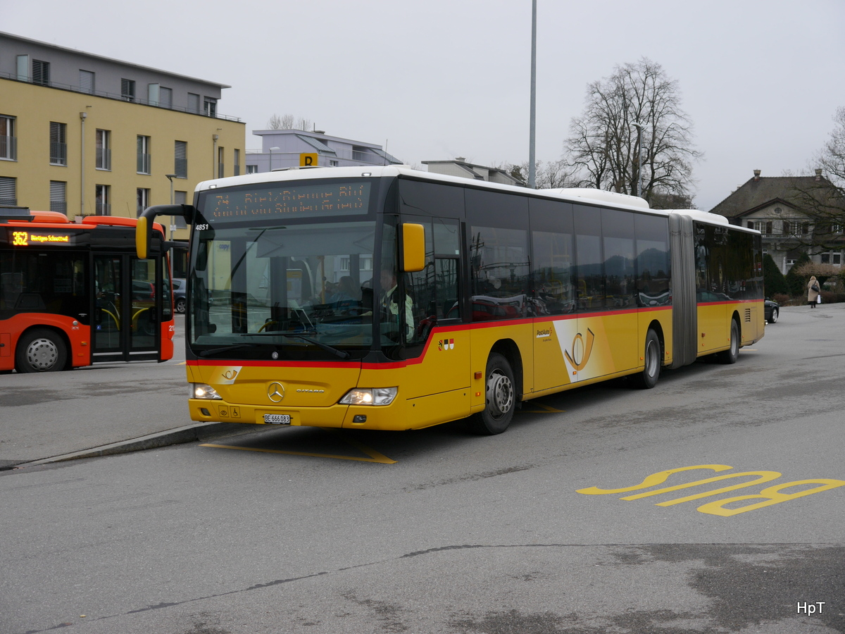 Postauto - Mercedes Citaro BE 666083 unterwegs in Lyss am 06.01.2017