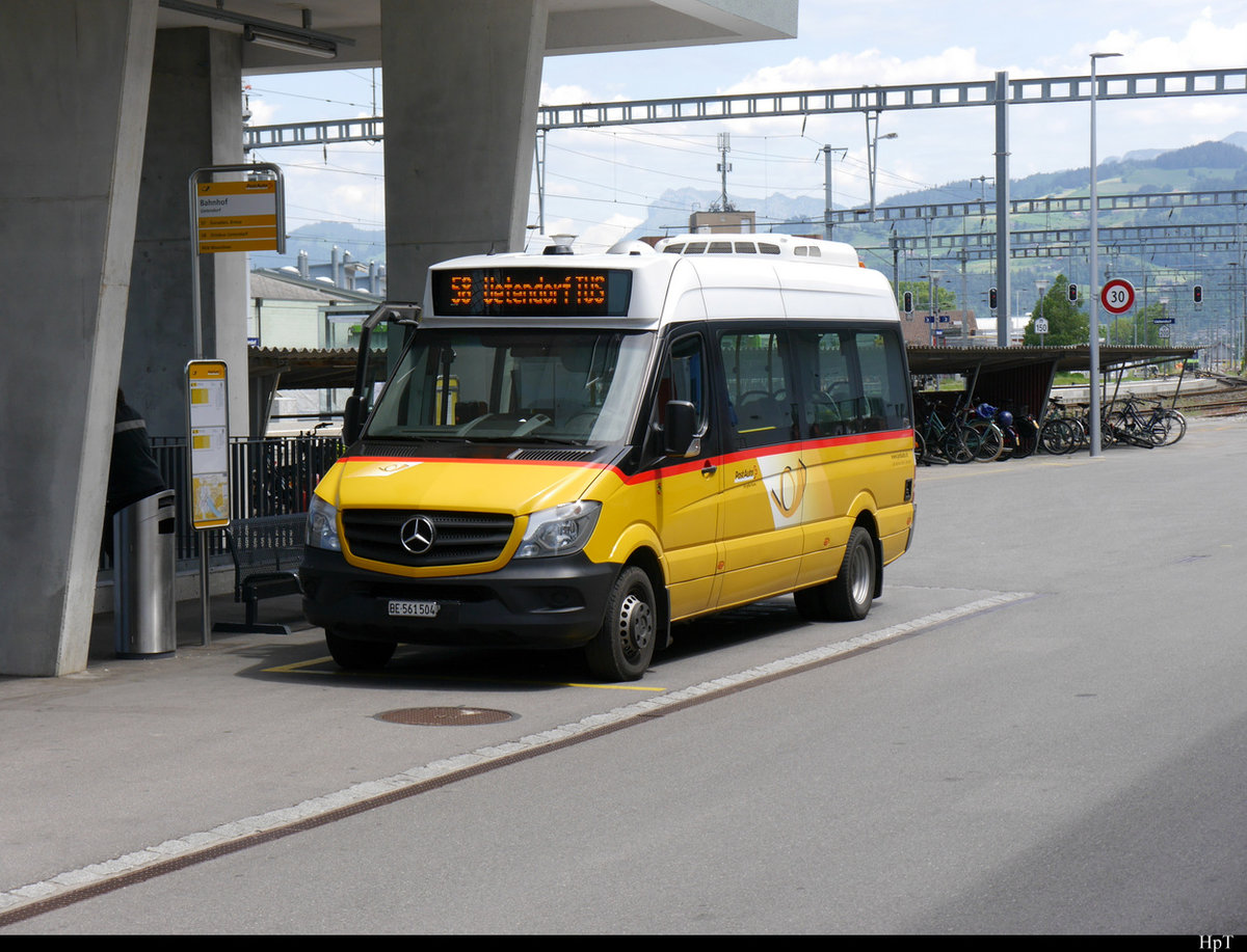 Postauto - Mercedes Sprinter BE  561504 als Ortsbus in Uetendorf am 28.05.2020
