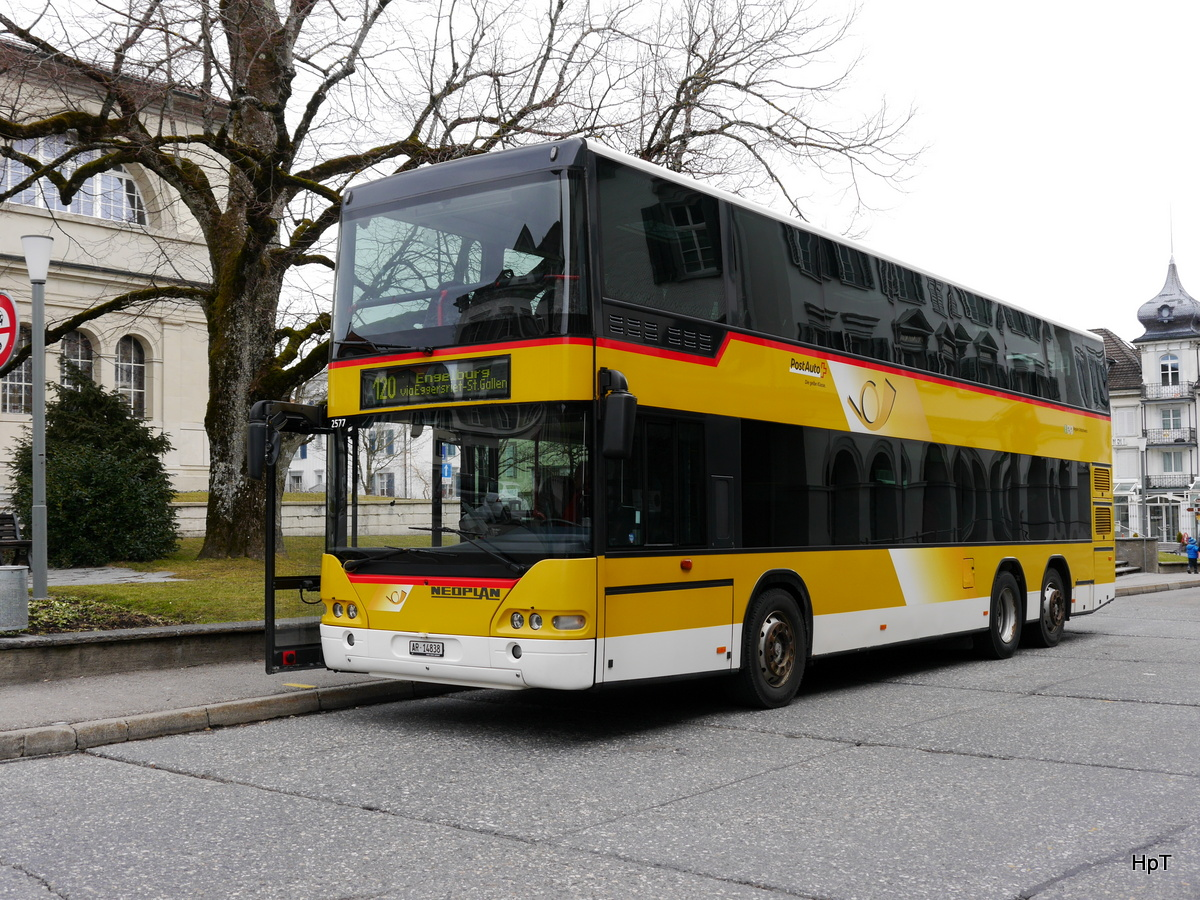 Postauto - Neoplan Doppelstockbus  AR 14838 in Heiden am 09.03.2018