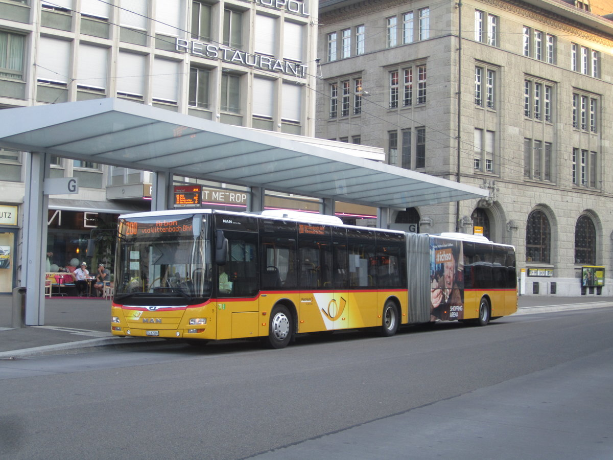 Postauto/PU Eurobus Nr. 9 (MAN A23 Lion's City G) am 23.7.2019 beim Bhf. St.Gallen