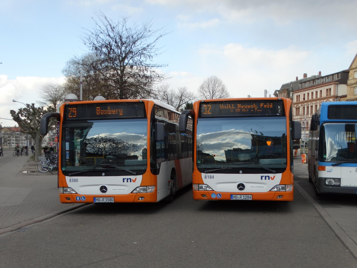 RNV Mercedes Benz Citaro 1 Facelift 8380 und Citaro Facelift G 8184 am 25.02.16 in Heidelberg