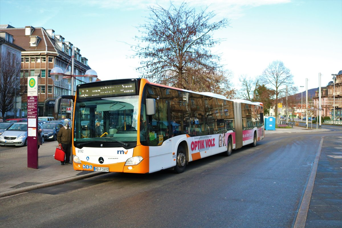 RNV Mercedes Benz Citaro 2 G Wagen 8192 am 22.12.19 in Heidelberg