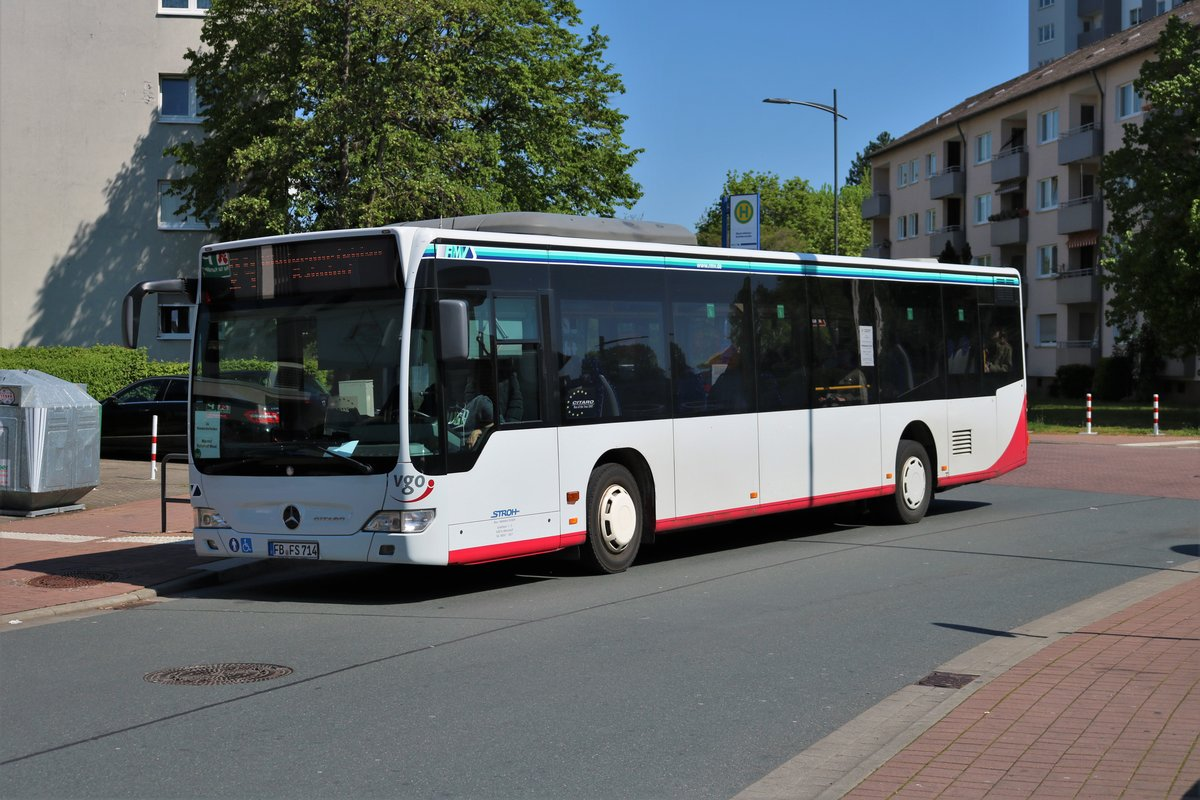 Stadtverkehr Maintal Mercedes Benz Citaro 1 Faelift Stroh Bus Leiwagen am 30.04.19 in Maintal Bischofsheim