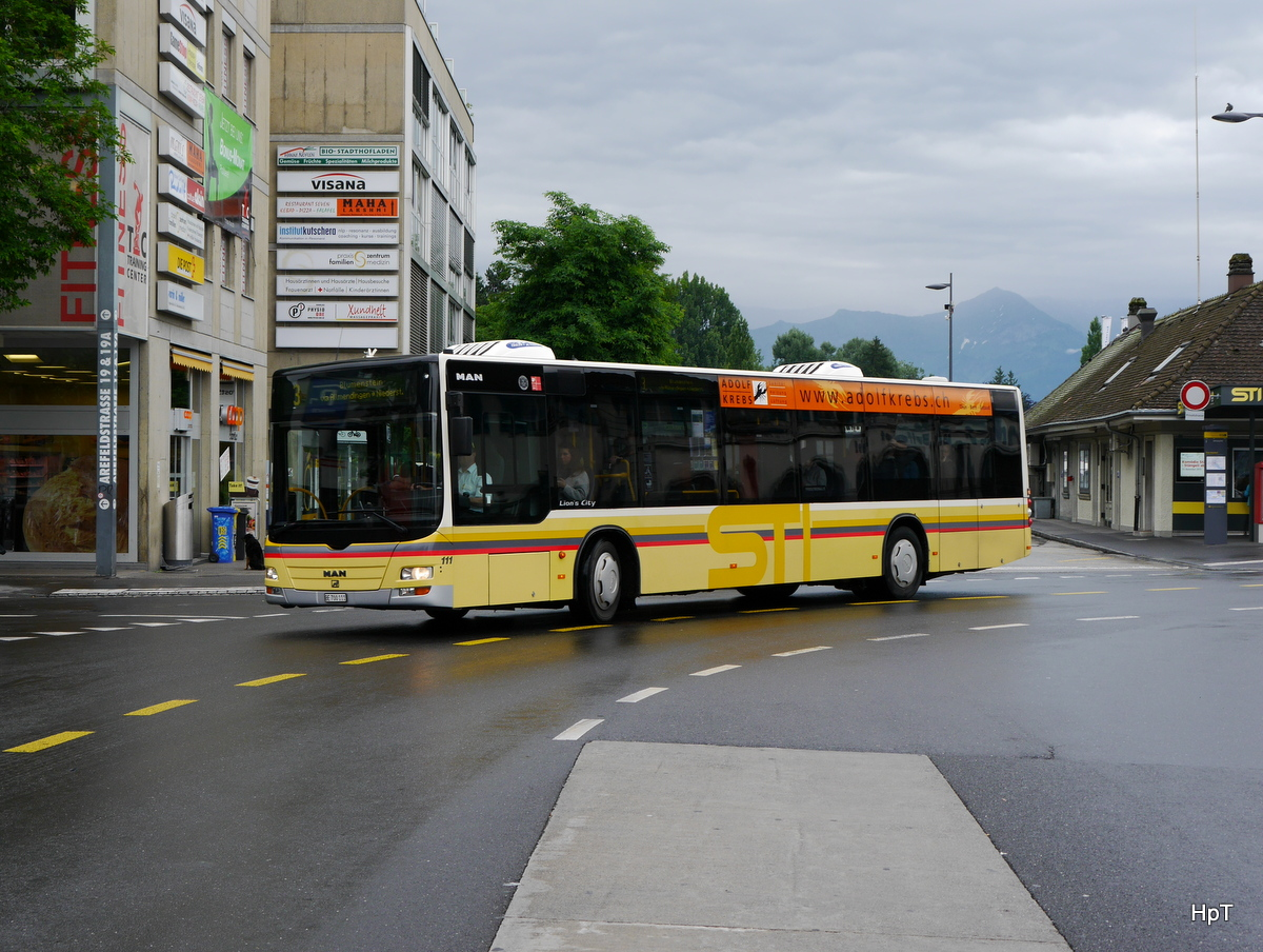 STI - MAN Lion`s City  Nr.111  BE 700111 unterwegs auf der Linie 3 in Thun am 21.06.2015