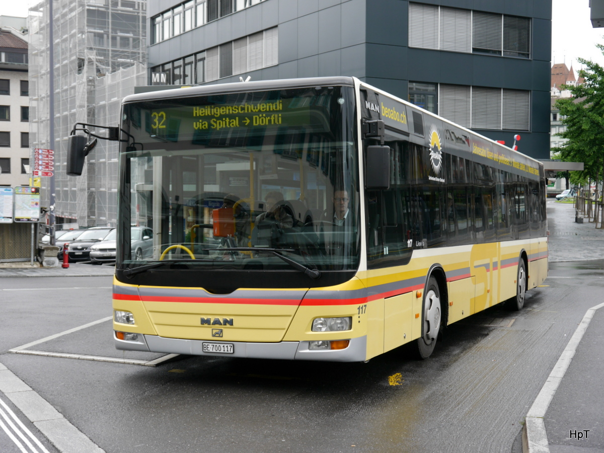 STI - MAN Lion`s City Nr.117  BE 700117 unterwegs auf der Linie 32 in Thun am 21.06.2015