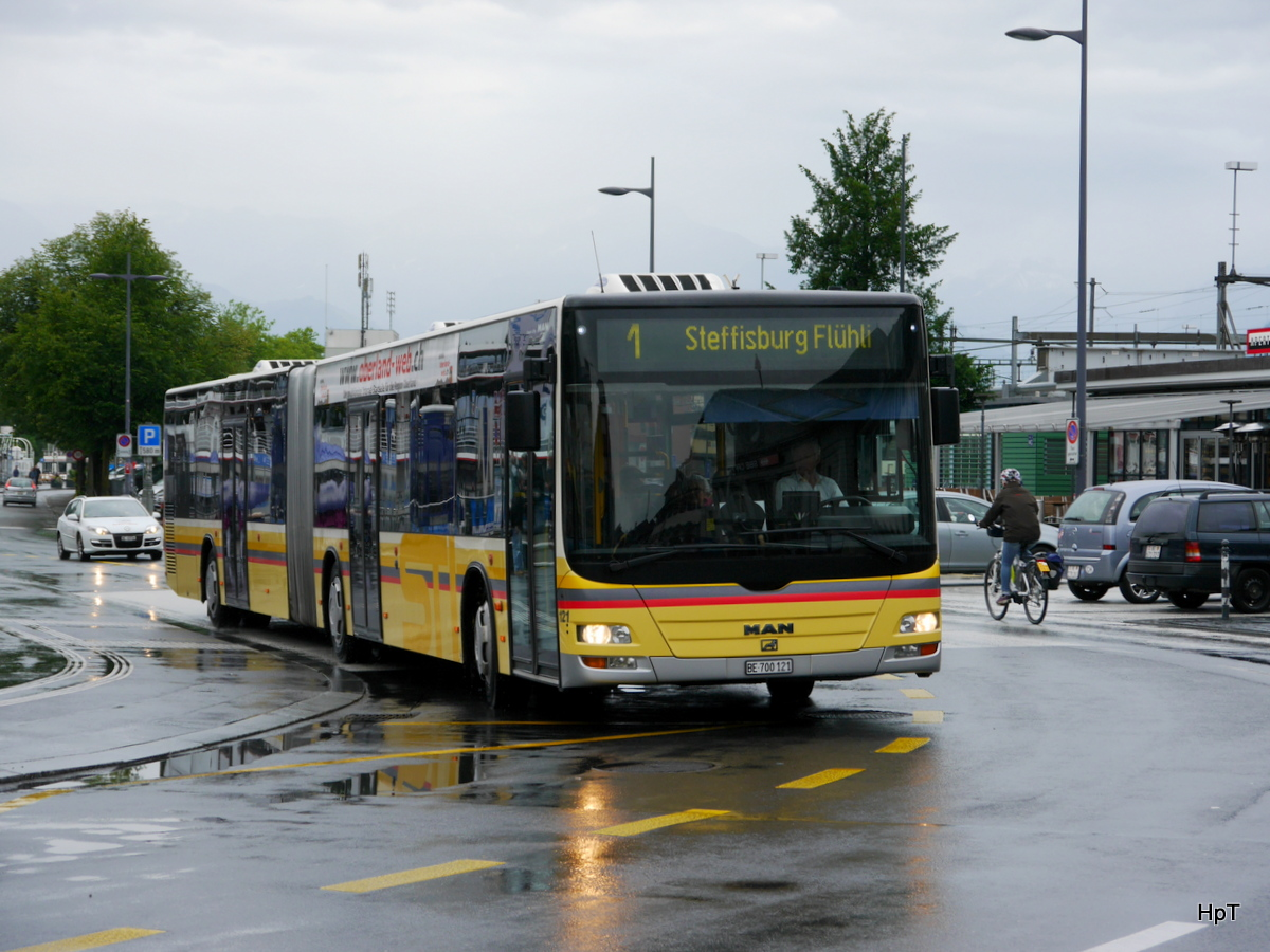 STI - MAN Lion`s City Nr.121 BE 700121 unterwegs auf der Linie 1 in Thun am 21.06.2015