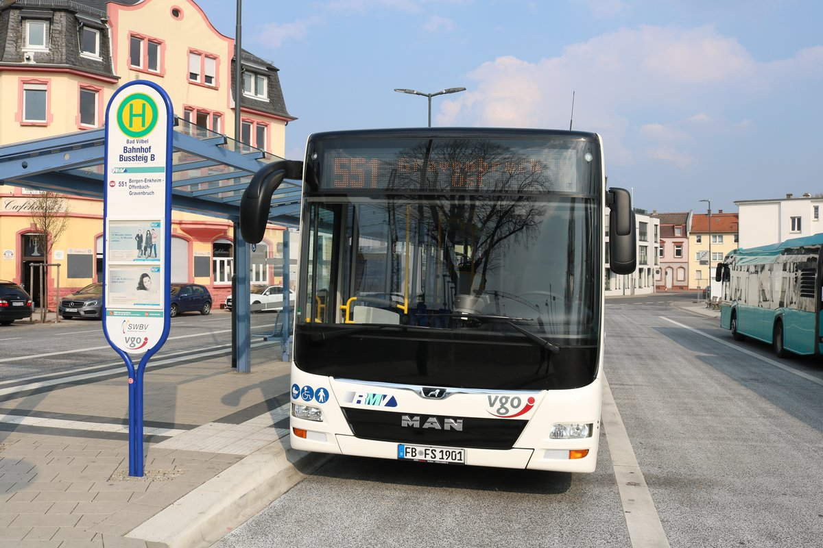 Stroh Bus MAN Lions City am 31.03.19 in Bad Vilbel Bhf