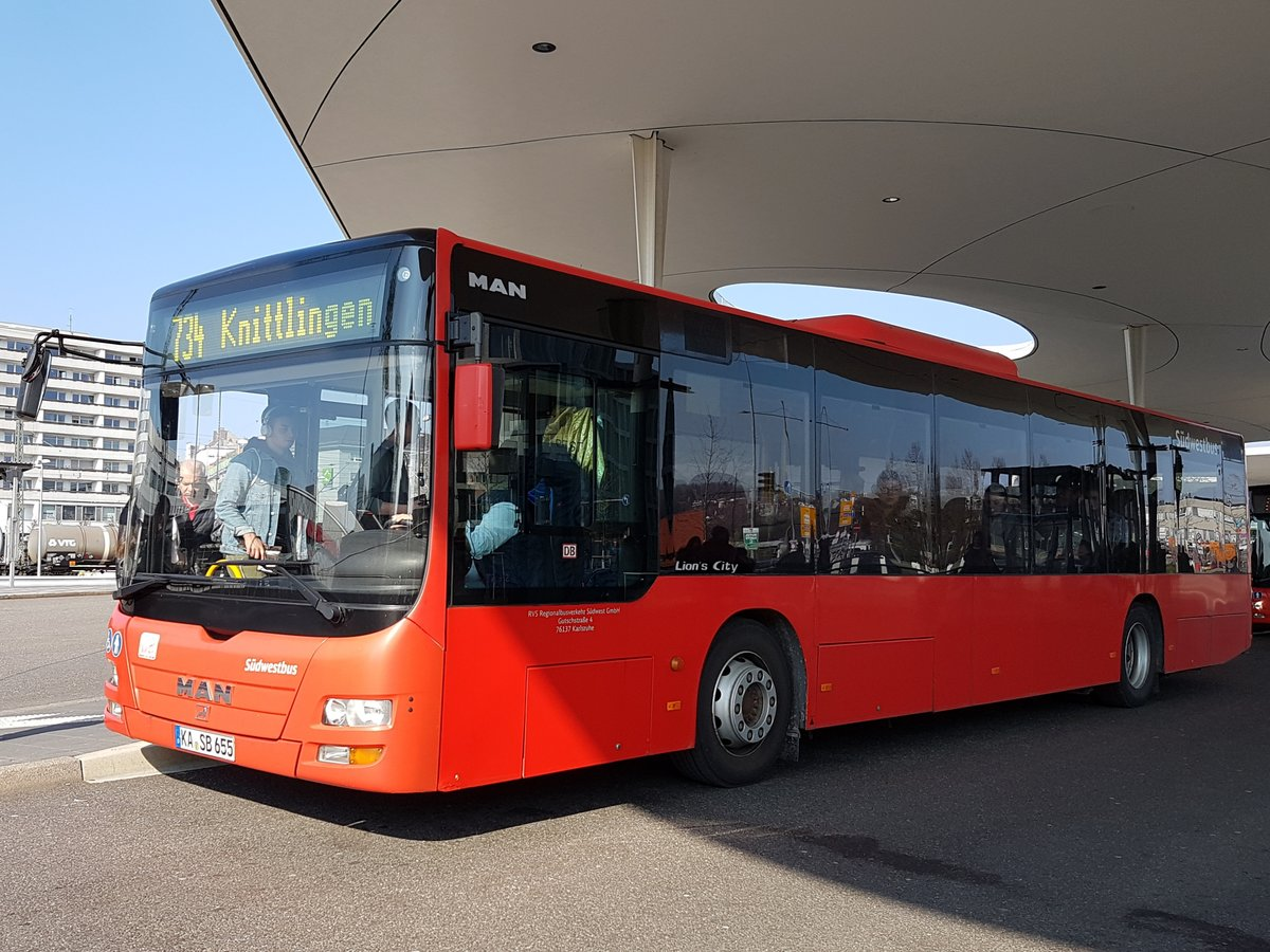 Südwestbus (RVS) ~ MAN Lions City Ü ~ April 2019 Pforzheim Hauptbahnhof ~ 734 Knittlingen