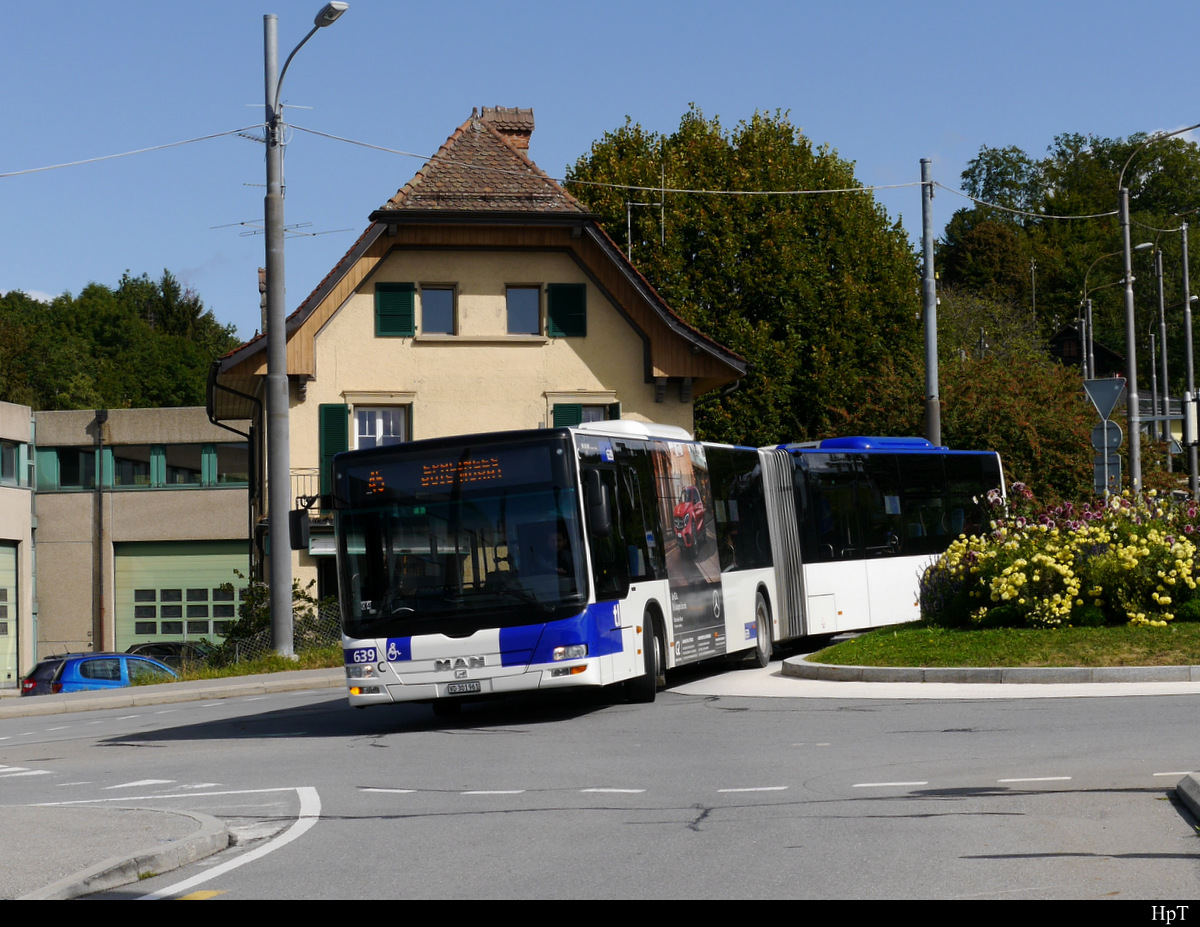 tl Lausanne - MAN Lion`s City Nr.639  VD 301961 unterwegs in der Stadt Lausanne am 23.09.2019