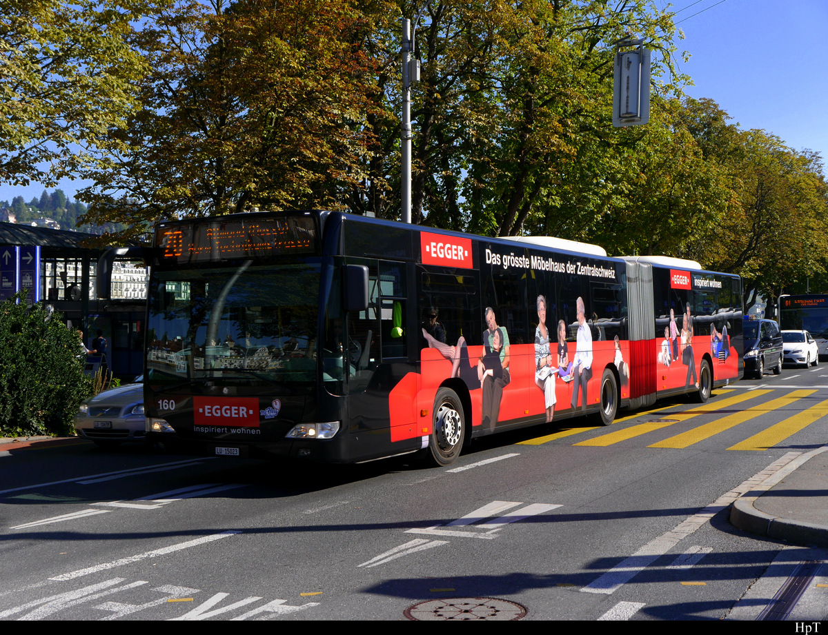 VBL - Mercedes Citaro Nr.160  LU 15023 unterwegs in Luzern am 27.09.2018