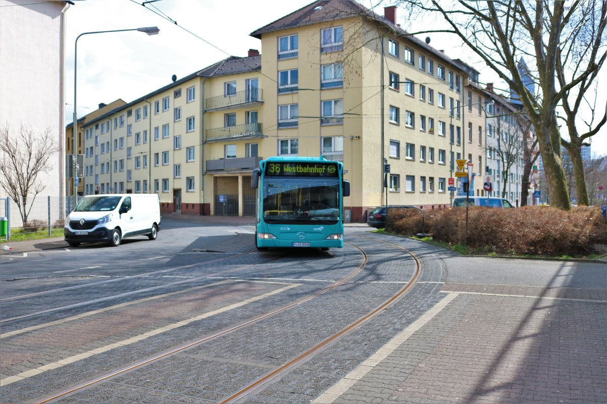 VGF/ICB Mercedes Benz Citaro 1 Facelift Wagen 348 am 31.03.18 in Frankfurt am Main Westbahnhof