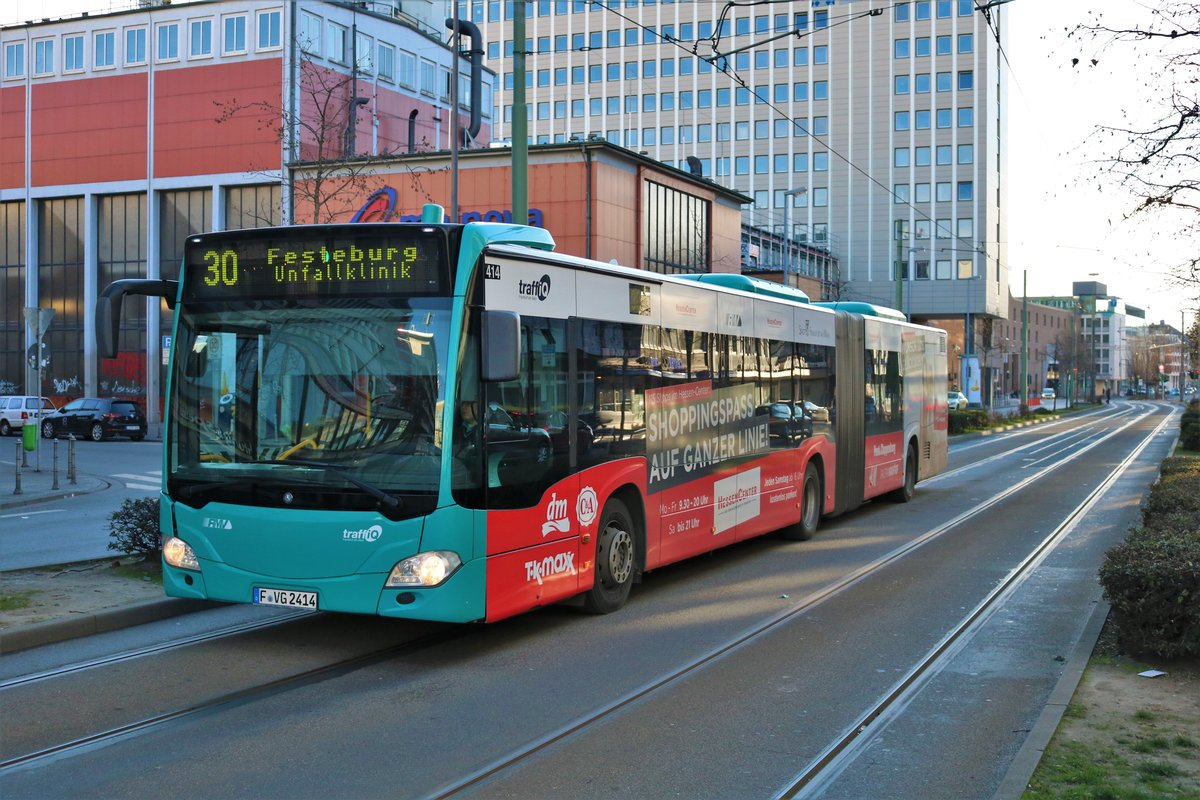VGF/ICB Mercedes Benz Citaro 2 G Wagen 414 am 19.01.19 in Frankfurt am Main Konstablerwache