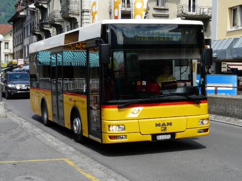 postauto man bus be 610531 unterwegs in interlaken am 24. Black Bedroom Furniture Sets. Home Design Ideas